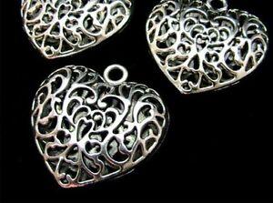 10-Pcs-Large-Puffed-Filigree-Tibetan-Silver-Heart-Pendant-Necklace-Gift-S144