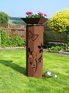 8Eck-Saeule-Rost-Blume-Saeule-Edelrost-Metall-Gartendeko-Stele-Rost-Deko-Pflanzen