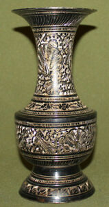 Vintage engraved brass vase