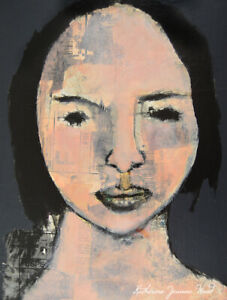 Mixed Media Outsider Collage Art Original Portrait Painting Katie Jeanne Wood