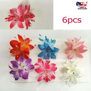 6 pcs exotic artificial silk flower hair clips pin bridal wedding image is loading 6 pcs exotic artificial silk flower hair clips mightylinksfo