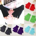 Knitted Stretch Half Finger Fingerless Gloves Winter Soft Warm Elastic
