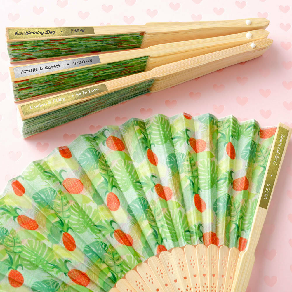 40-240 Personalized Metalic Pineapple Design Fan - Tropical Wedding Party Favor