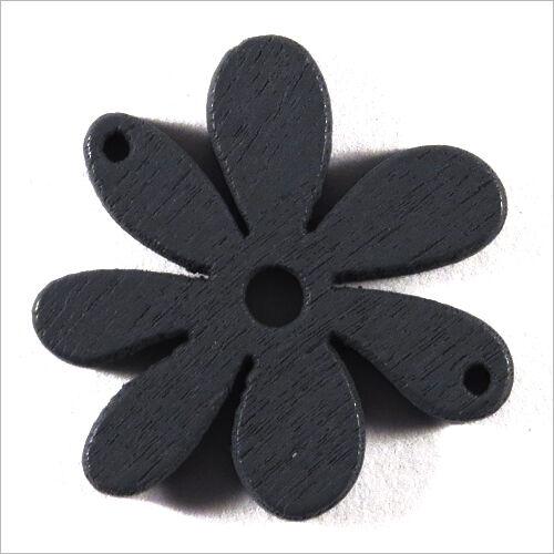 Lot of 10 Flowers Beads wooden 25mm Dark Grey