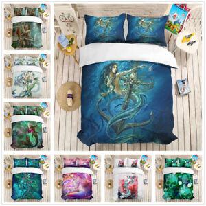 3D Sea Mermaid Duvet Cover Bedding Set Angel Quilt//Comforter Cover Pillowcase