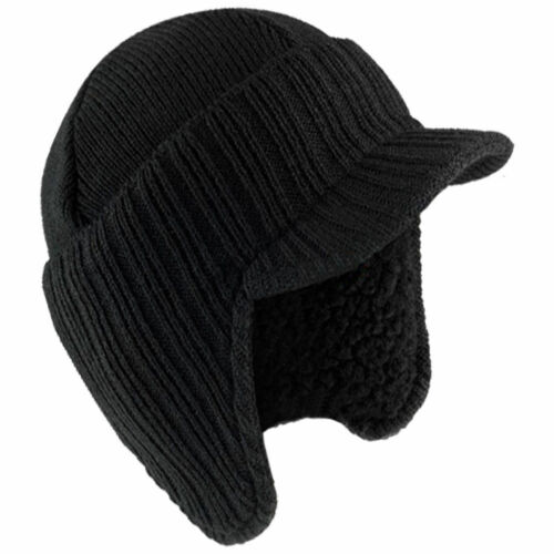NEW Warm Winter Peaked Beanie Thermal Insulated Outdoor Black Workwear Work Hat