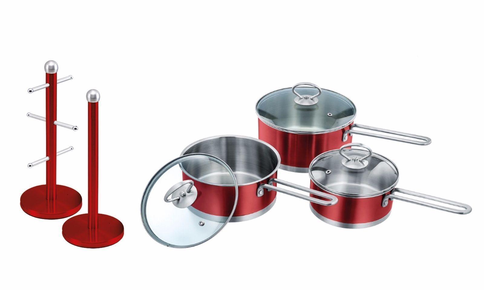 Set di  Antiaderente Casseruola Set, tazza albero porta rotolo da cucina & Stand Set, Rosso