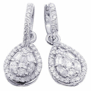 Image Is Loading 14k White Gold Round Baguettes Pear Marquise Cut