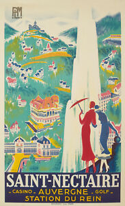 Original-Vintage-Poster-R-de-Valerio-SAINT-NECTAIRE-Casino-Golf-1930