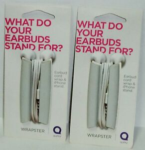 WHITE 2 quirky WRAPSTER EARBUD CORD WRAP /& STAND