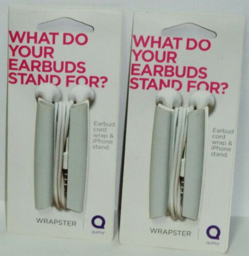 2 Sets Of Quirky Wrapster Earbud Cord Wrap /& iPhone Stand WHITE