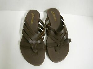Details about St. John's Bay Briony Dark Brown Leather Slip On Thong Sandals Women's Sz 7M(B)