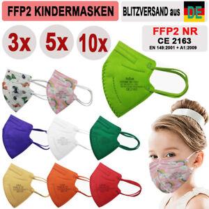 🔷🔶3 / 5 / 10x FFP2 Kinder Bunte Masken KINDERMASKEN ZERTIFIKAT Farbig 9 Farben