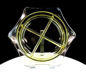 ELEGANT-GLASS-DEPRESSION-ERA-YELLOW-TOPAZ-4-PART-10-1-4-034-RELISH-DISH-1930-039-s
