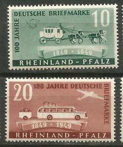 Allemagne-Rhenanie-palatinat-Scott-6N39-40-Mlh-Centenaire-de-Timbre-1949