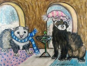 Ferret-Drinking-a-Martini-Winter-Collectible-8x10-Art-Print-Signed-Artist-KSAMS