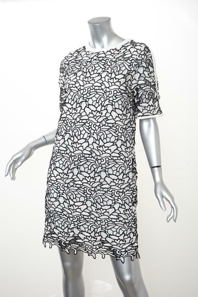 ESSENTIEL ANTWERP damen Weiß+schwarz Floral Lace Shift Dress 38 6 S NEW NWT