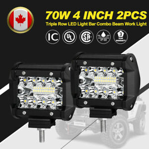 2Pcs-4-Inch-70W-LED-Work-Light-Triple-Row-Spot-Flood-Beam-Offroad-Driving-Lights