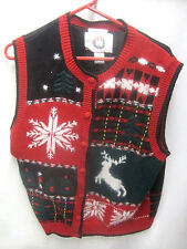 Ugly Christmas Party Sweater Large Womens Vest Red