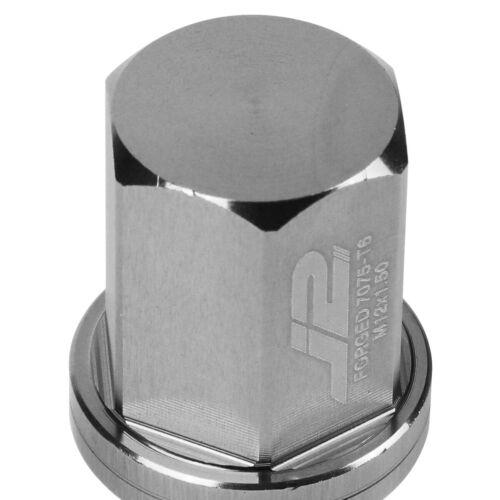 J2 M12X1.5 7075 ALUMINUM 25MM OD//35MM 20PC CLOSE END LUG NUT SET+ADAPTER SILVER
