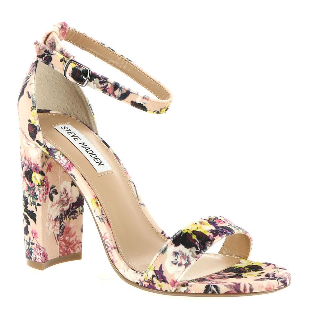 Steve Madden Carrson Pink Multicolor Floral-V Ankle Strap Dress Sandal Size 7.5