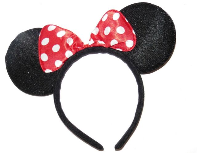 HEN PARTY FANCY DRESS CHRISTMAS BLACK x8 SPARKLY GLITTER MINNIE MOUSE EARS