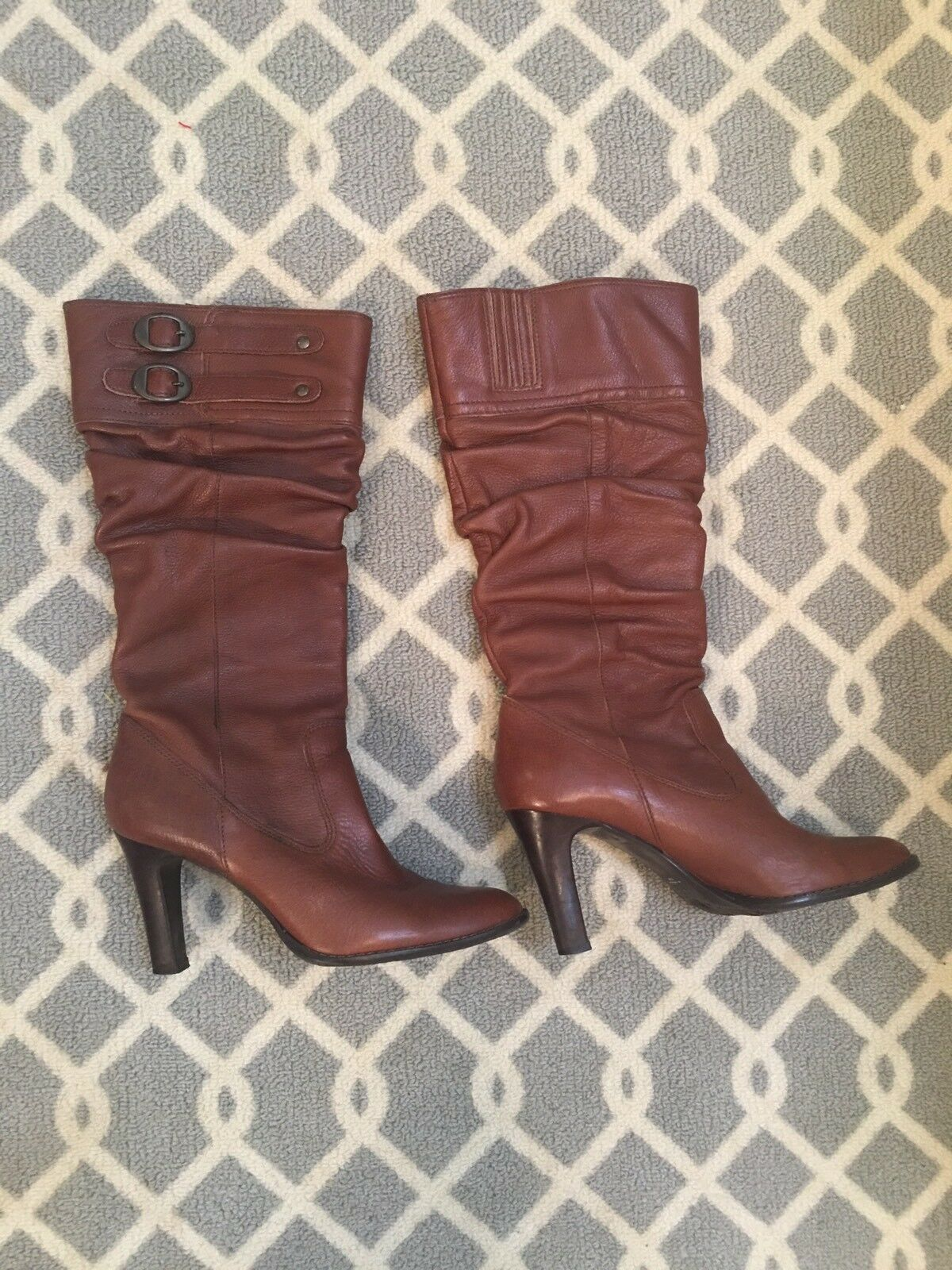 Matisse Women's US 8.5 M Brown Leather Pull On Slouchy  Knee-High Casual Boots