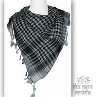 Gray Black Cotton Nomad Desert Houndstooth Shemagh Keffiyeh Shawl Tactical Scarf
