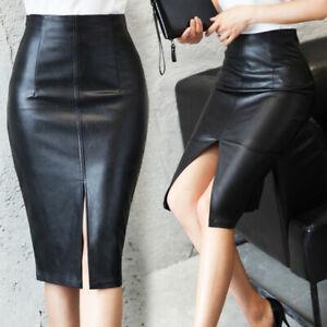 Details about Women PU Leather Pencil Midi High Waist Split Skirt Lady Wet Look Stretch Dress