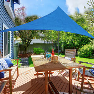 Outsunny-12ft-Patio-Lawn-Shelter-Sun-Sail-Shade-Triangle-w-Carrying-Bag-Blue