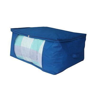 Home Storage Organizer Under Bed Storage Bag Container Case Blue Strip Handle