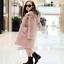 Kids Children Girls Fur Furry Thicken Hooded Coat Slim Jacket Long Parka 2-12Y
