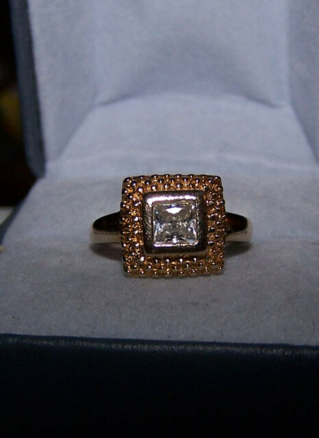 Ross Simons 18k yellow gold/sterling silver engagment princess beaded Ring