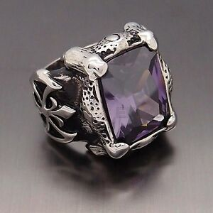 Men Silver Dragon Claw Amethyst Purple Cz 316l Stainless