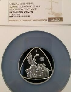2010-MEXICO-62G-SILVER-MEDAL-REVOLUTION-CENTENNIAL-NGC-PF-70-ULTRA-CAMEO-POP-1