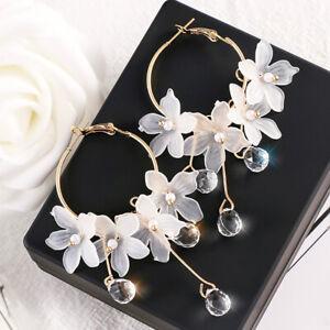 Drop-Earrings-Crystal-Tassel-Dangle-Acrylic-Flower-Women-Jewelry-Accessories