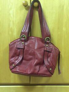 Tignanello Red Leather Handbag Purse