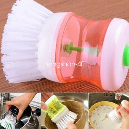 1*Scrubber Soap Dispense Palm Wash Brush Cleaning Pan Pot Dish Bowl Kitchen Tool