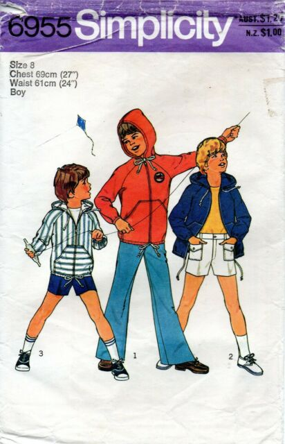 1970s Simplicity Sewing Pattern 6955 Boy's Pants Shorts Unlined Hoodie