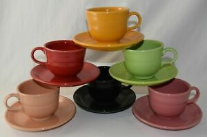 Fiesta-Cup-amp-Saucer-Sets-CHOICE-OF-COLORS-Current-amp-Discontinued-Colors