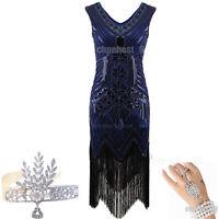Sequin Beaded 1920s Flapper Dress Gatsby Charleston Fancy Vintage Fringe Costume