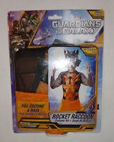 Rocket Raccoon Costume & Mask Set Kids Size 8-10 Guardians Of The Galaxy Marvel