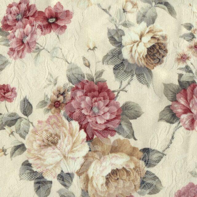 Schlaufenschal Vorhang 140  cm x 245 cm  Rosenmotiv  Blumen Jacquard pflegearm