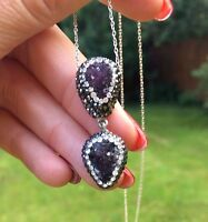 Amethyst Druzy Necklace Sterling Silver Handmade Pave Gemstone Jewelry Gift