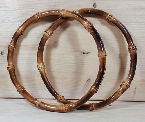 18 cm Ø` Neu//New//OVP Handarbeit,Tasche,Griff Hoooked `2 Taschengriffe Bambus ca