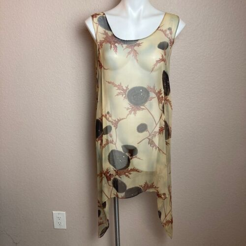 Harari Tunic Top Brown Floral Sleeveless Scoop Nec