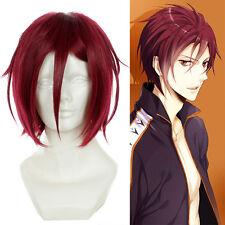 "New 14"" / 35cm Free! Matsuoka Rin Dark Red Wig Cosplay Party Costume Anime Hair"