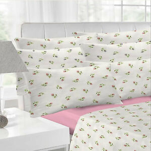 Rosebud Flannelette White Pink Sheet Set Bedding Fitted