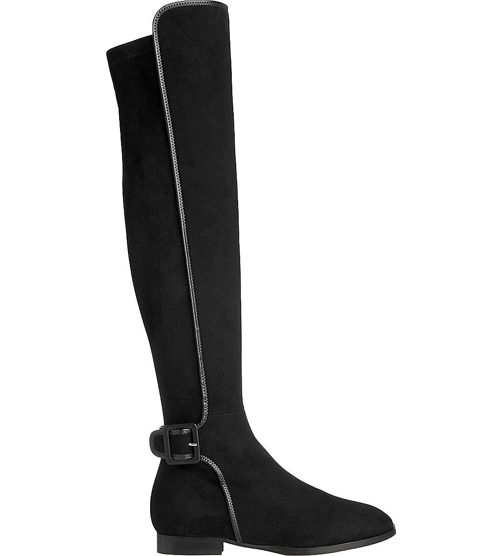 677 L.k. Bennett Depurple-Over-The-Knee Boot Flat Black Suede Bootie 38.5- 8