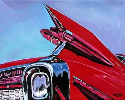 Vintage 59 Cadillac Tail CAR Original Art PAINTING DAN BYL Collector Canvas XXL